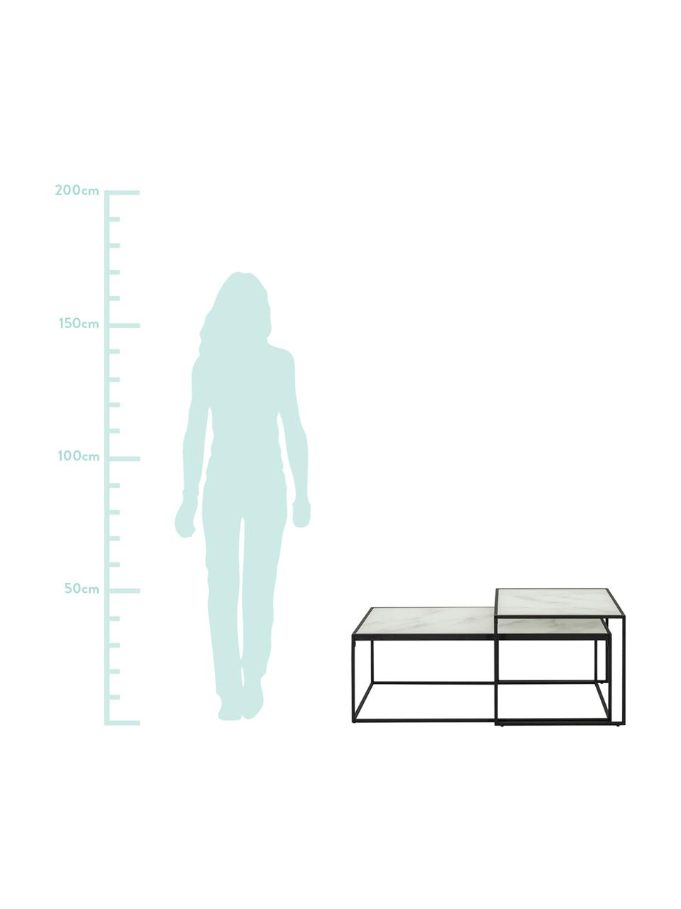 Set 2 tavolini da salotto con piano in vetro Bolton, Ripiani: vetro, sventati, Struttura: metallo, verniciato a pol, Bianco, Set in varie misure