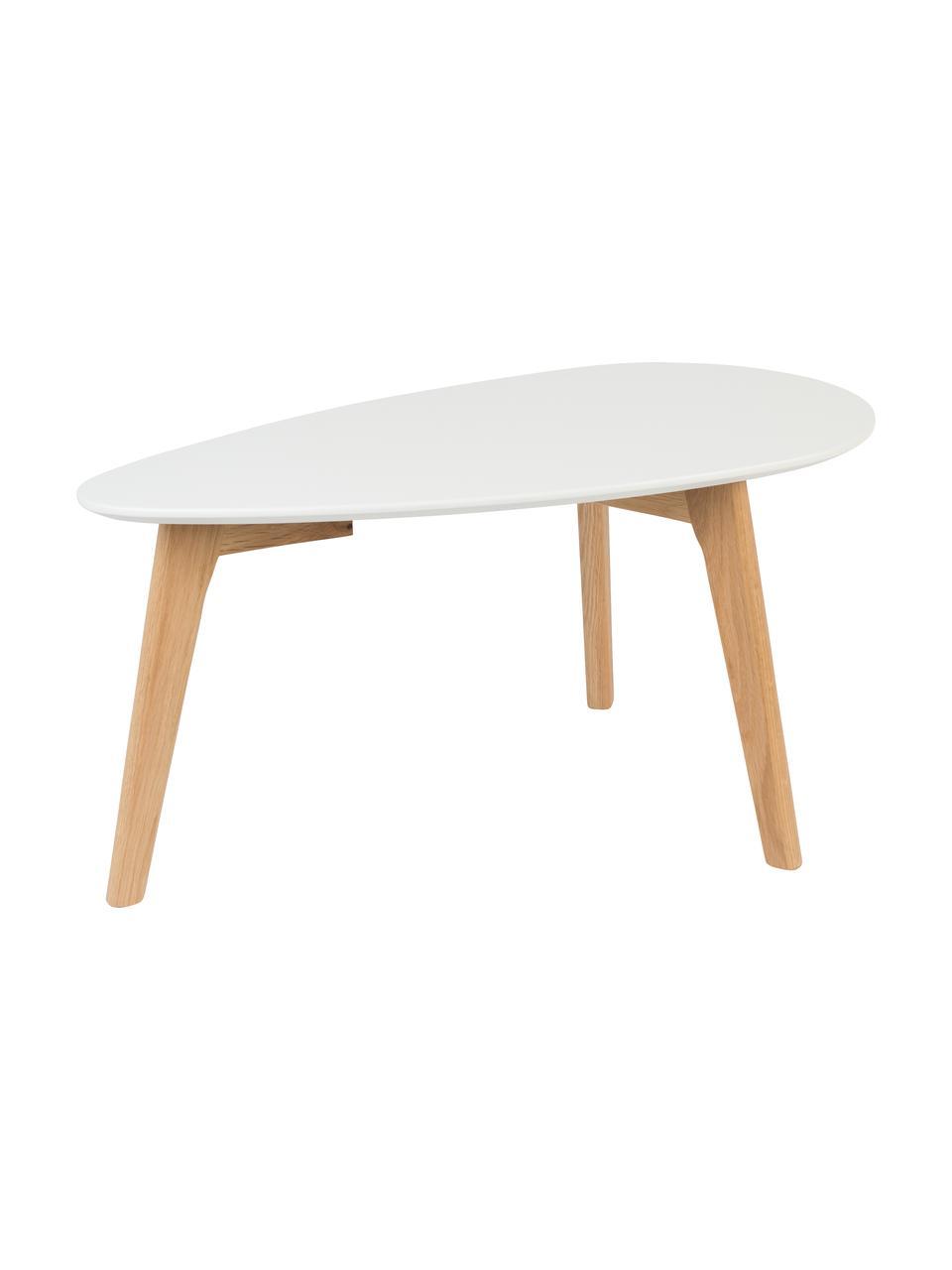 Table gigogne scandinave Nordic, 2élém., Plateau: blanc Pieds: chêne