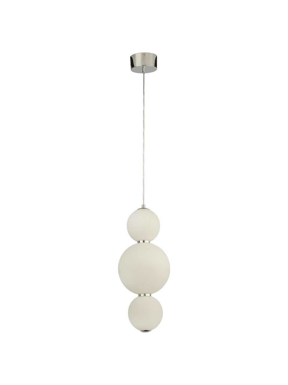 Suspension LED moderne Snowball, Blanc opalescent, chrome
