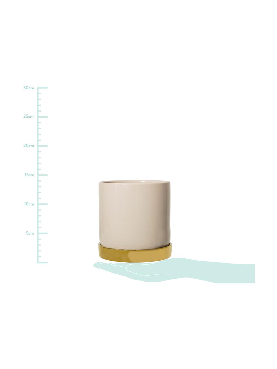 Osłonka na doniczkę z kamionki Elin, Kamionka, Doniczka: beżowy Podstawka: złoty, Ø 14 x W 14 cm