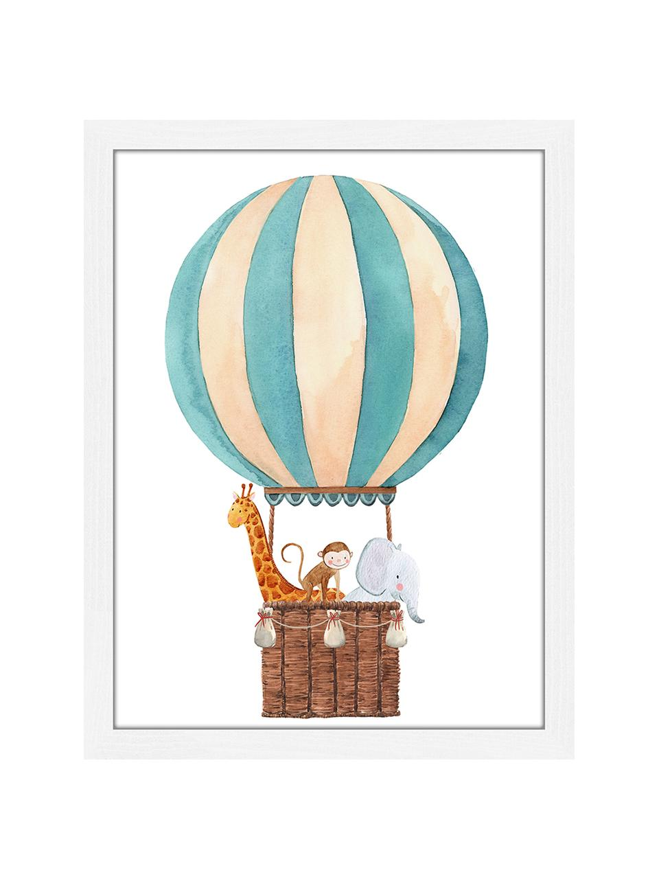 Impression numérique encadrée Balloon with Animals, Blanc, multicolore