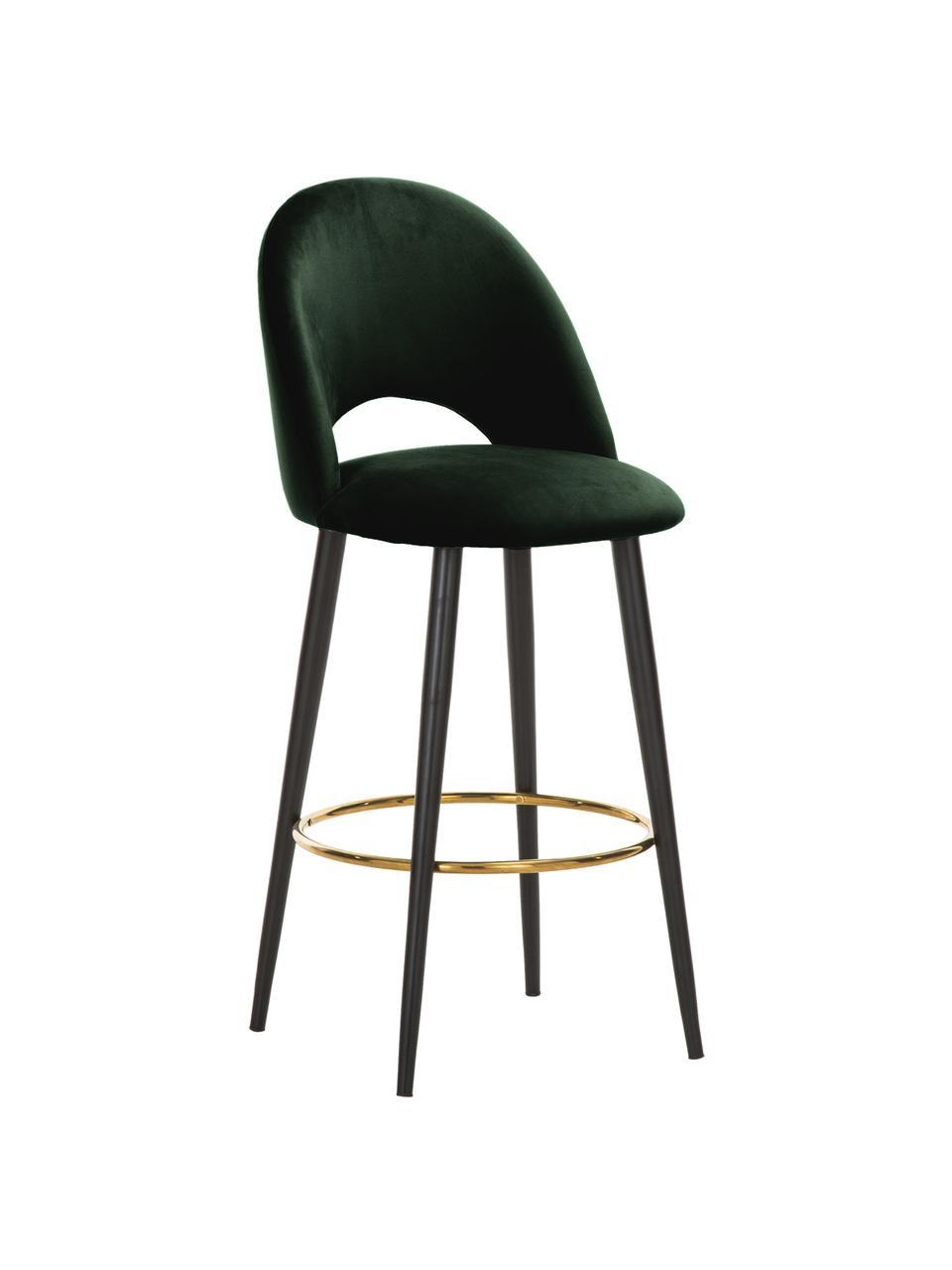 Sedia da bar in velluto verde scuro Rachel, Rivestimento: velluto (poliestere) 50.0, Gambe: metallo verniciato a polv, Velluto verde scuro, Larg. 48 x Alt. 110 cm