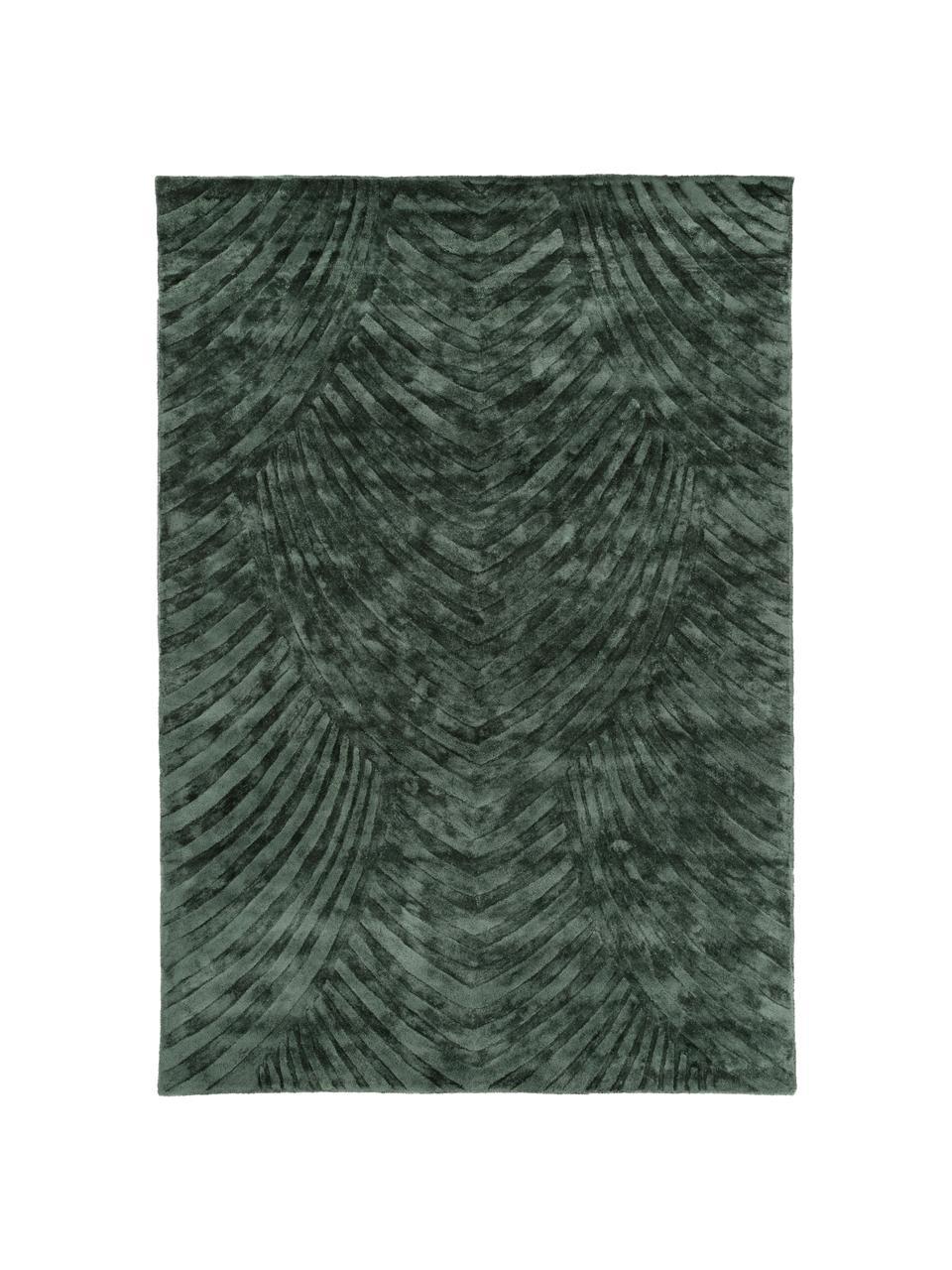Tappeto in viscosa taftato a mano Bloom, Vello: 100% viscosa, Retro: 100% cotone, Verde scuro, Larg. 160 x Lung. 230 cm (taglia M)