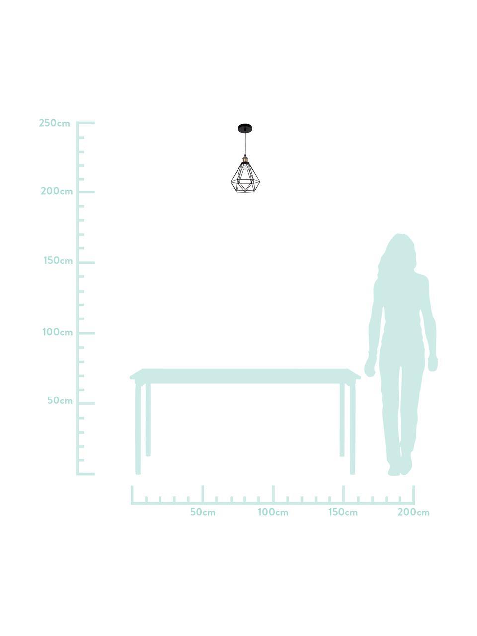 Lampada a sospensione industrial nera Agnes, Paralume: metallo, Decorazione: alluminio, Baldacchino: metallo, Struttura: nero, ottone Paralume: nero, Ø 21 x Alt. 22 cm