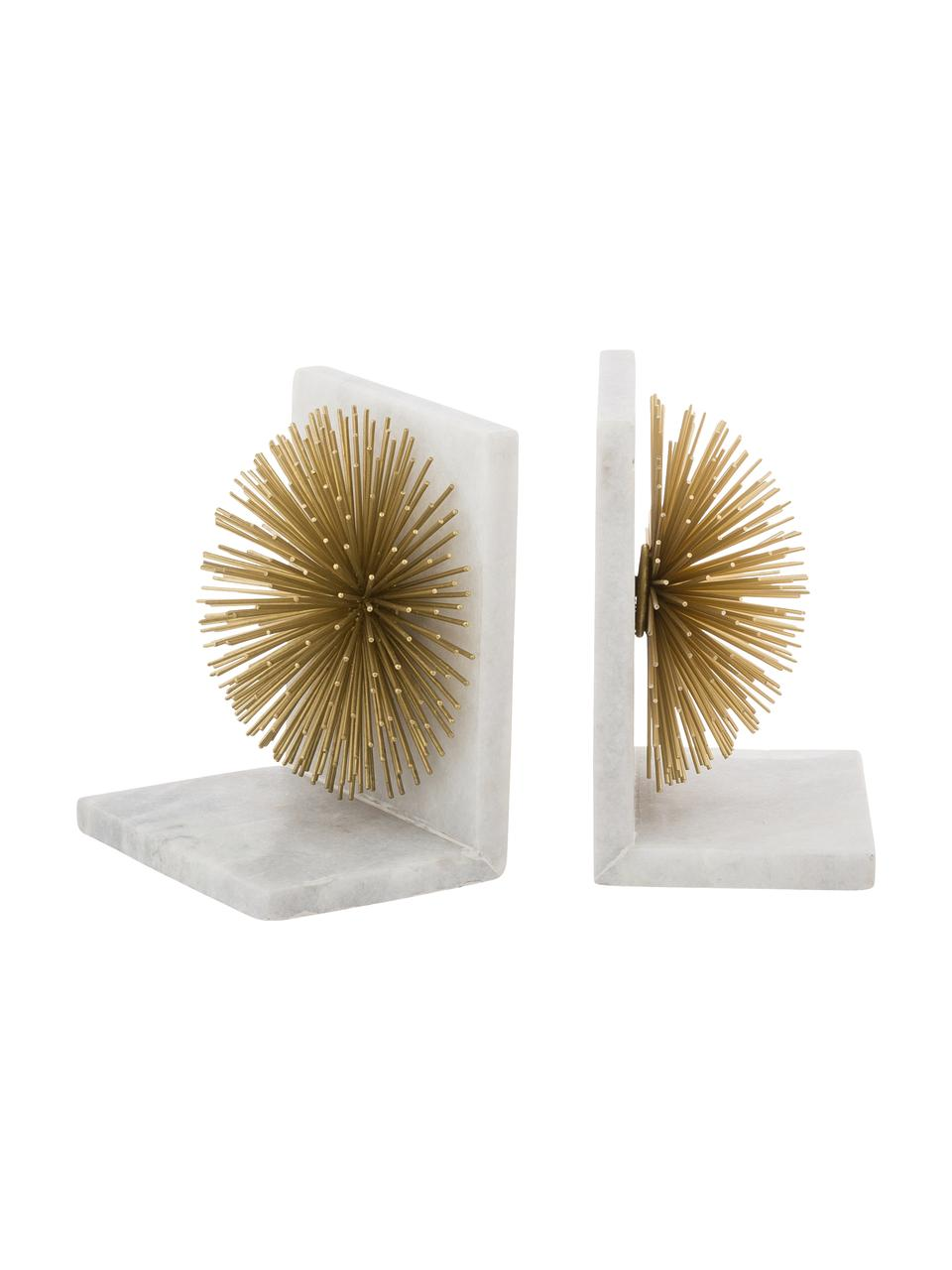 Buchstützen Marburch, 2 Stück, Unterseite: Filz, Buchstützen: Weißer Marmor, Detail: Goldfarben, Unterseite: Filz, 14 x 17 cm