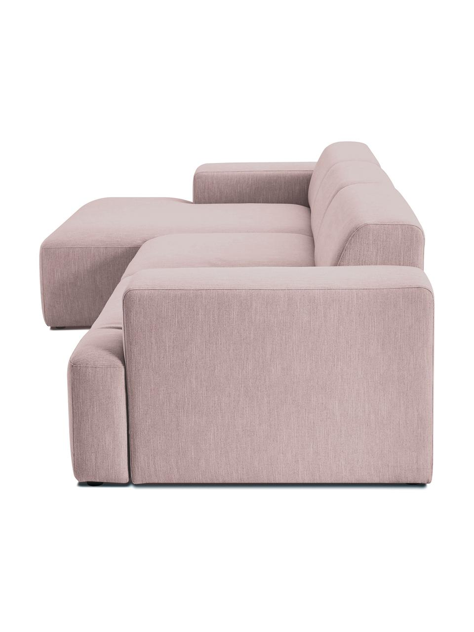 Hoekbank Melva (4-zits) in roze, Bekleding: polyester, Frame: massief grenenhout, spaan, Poten: grenenhout, Geweven stof roze, B 319 x D 144 cm