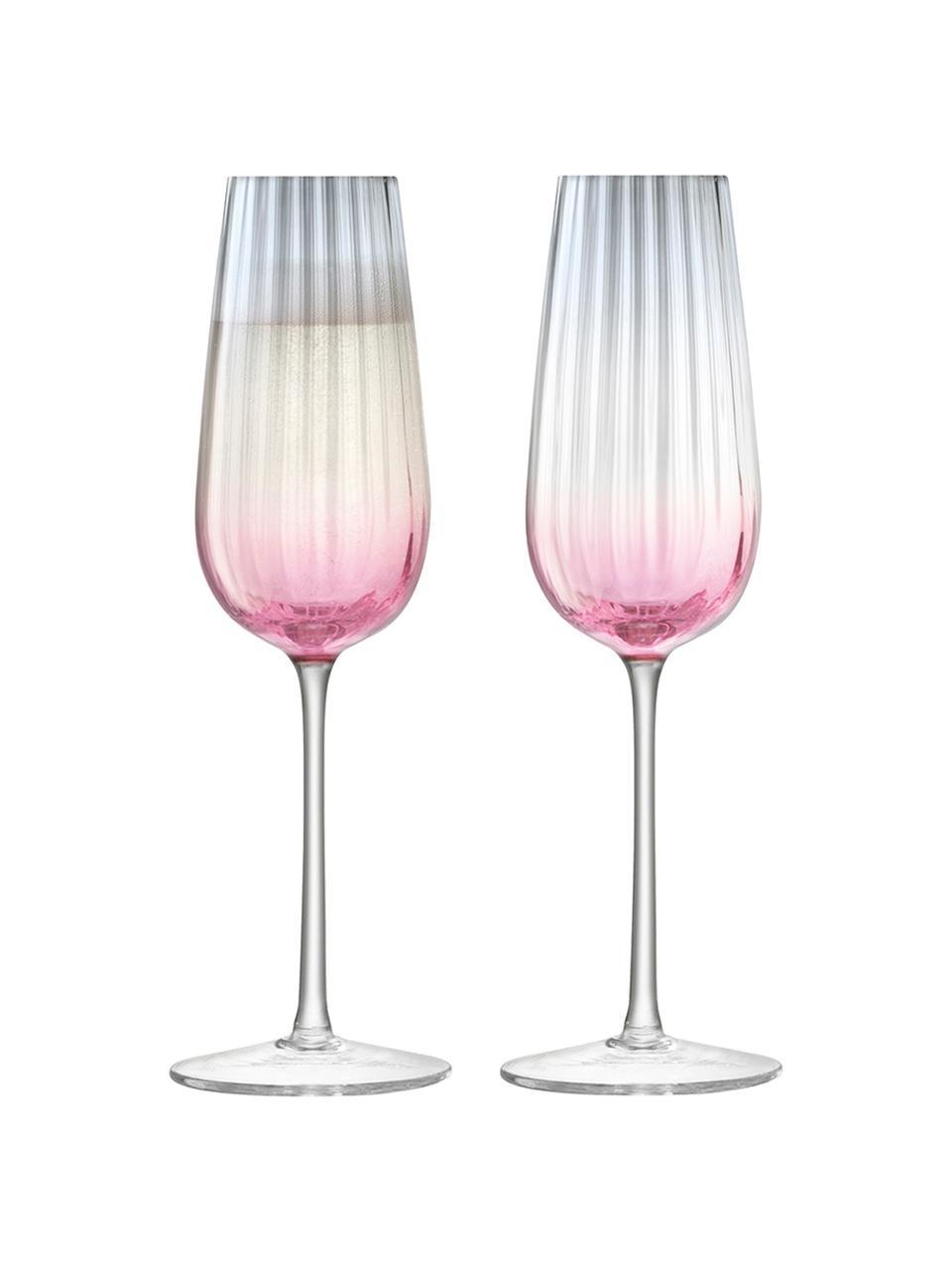 Handgemachte Sektgläser Dusk mit Farbverlauf, 2er-Set, Glas, Rosa, Grau, Ø 6 x H 23 cm