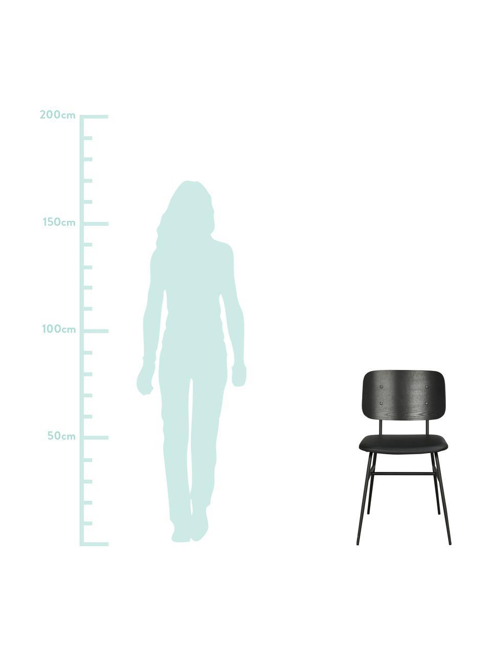 Holzstuhl Brent, Rückenlehne: Eschenfurniersperrholz, l, Sitzfläche: Kunstleder (Polyurethan), Gestell: Metall, lackiert, Schwarz, matt, B 47 x T 57 cm