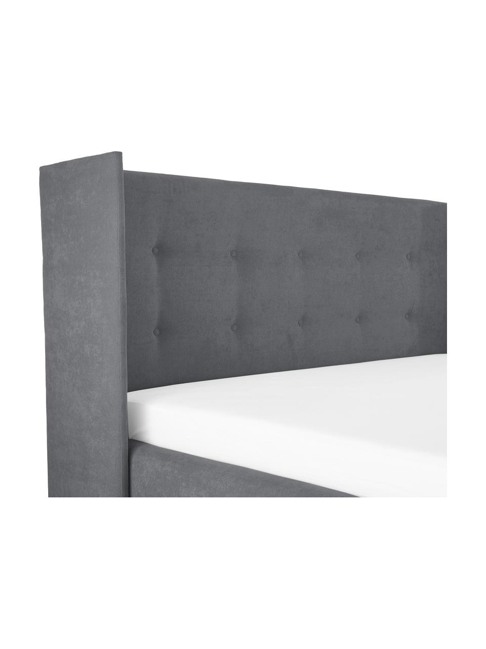 Gestoffeerd bed Star, Frame: massief grenenhout, Bekleding: polyester (structuurmater, Donkergrijs, 180 x 200 cm