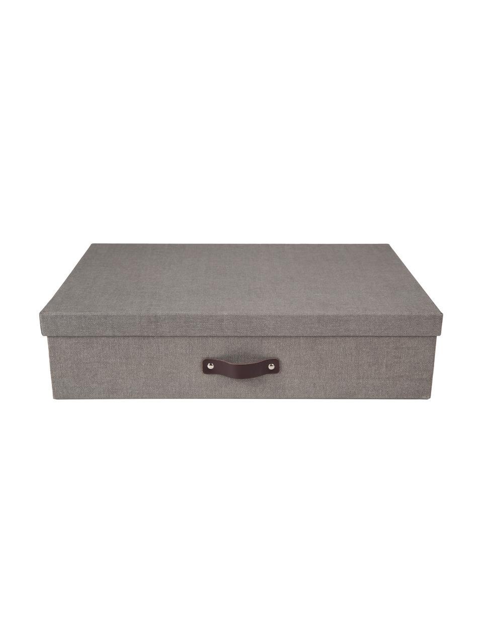 Aufbewahrungsbox Jakob II, Box: Fester Leinenstrukturkart, Griff: Leder, Box außen: GrauBox innen: SchwarzGriff: Dunkelbraun, 43 x 11 cm