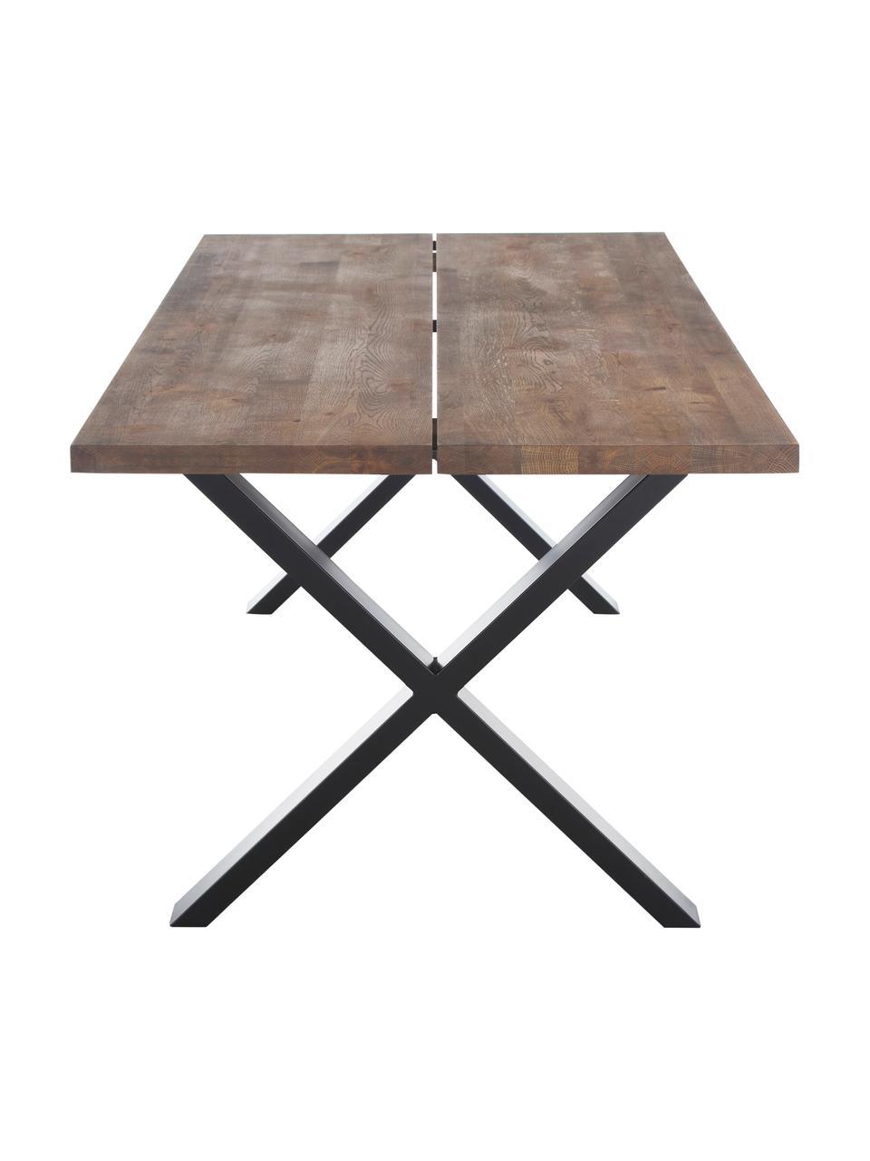 Tavolo con piano in legno massello Montpellier, Quercia affumicata, nero, Larg. 200 x Prof. 95 cm