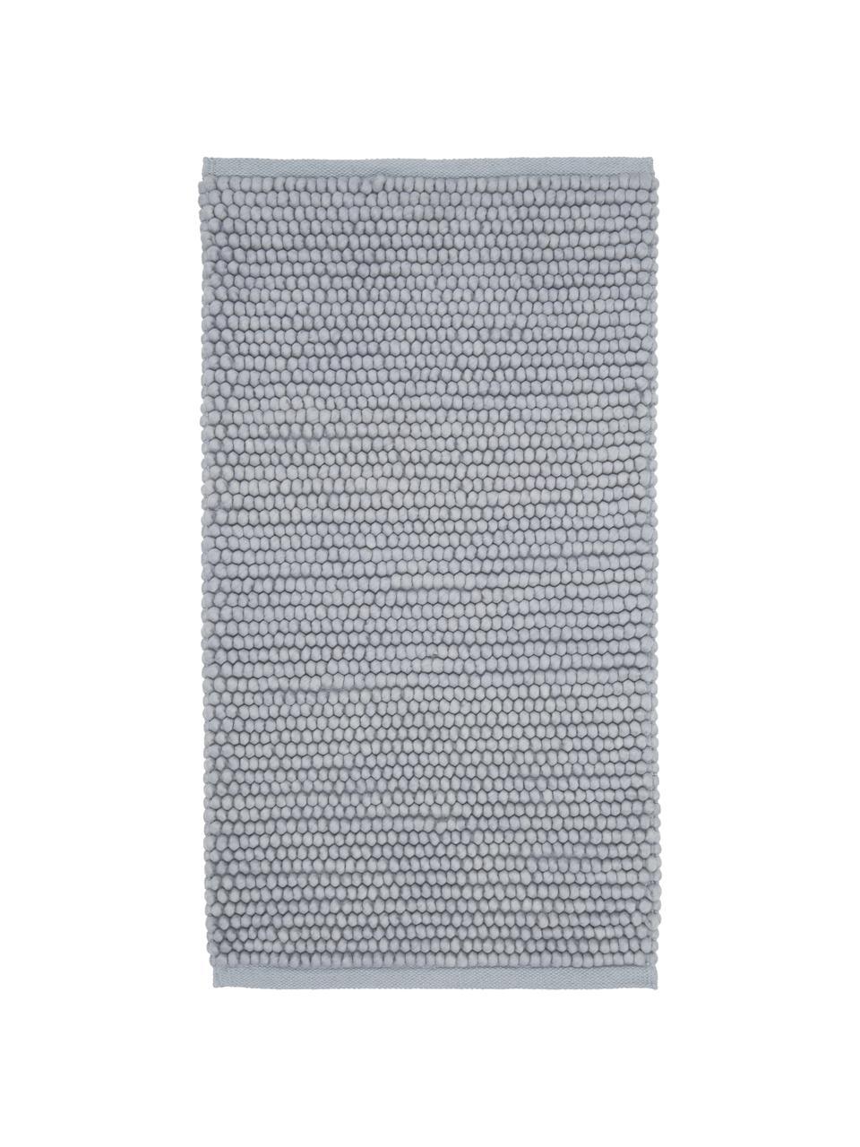 Wollen vloerkleed Pebble in lichtgrijs, 80% Nieuw-Zeelandse wol, 20% nylon, Grijs, B 80 x L 150 cm (maat XS)
