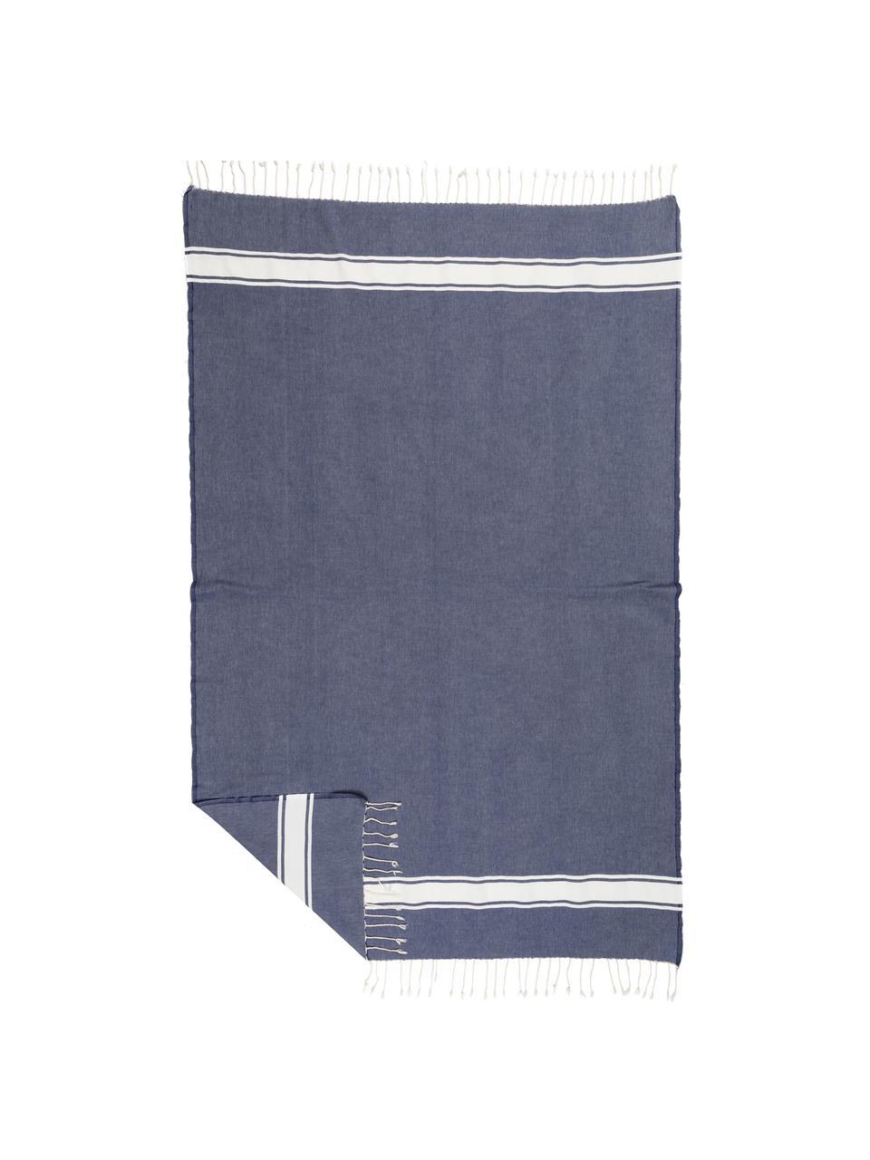 Tovaglia a righe in cotone con frange St. Tropez, Cotone, Blu denim, bianco, Per 6-8 persone (Larg. 150 x Lung. 250 cm)