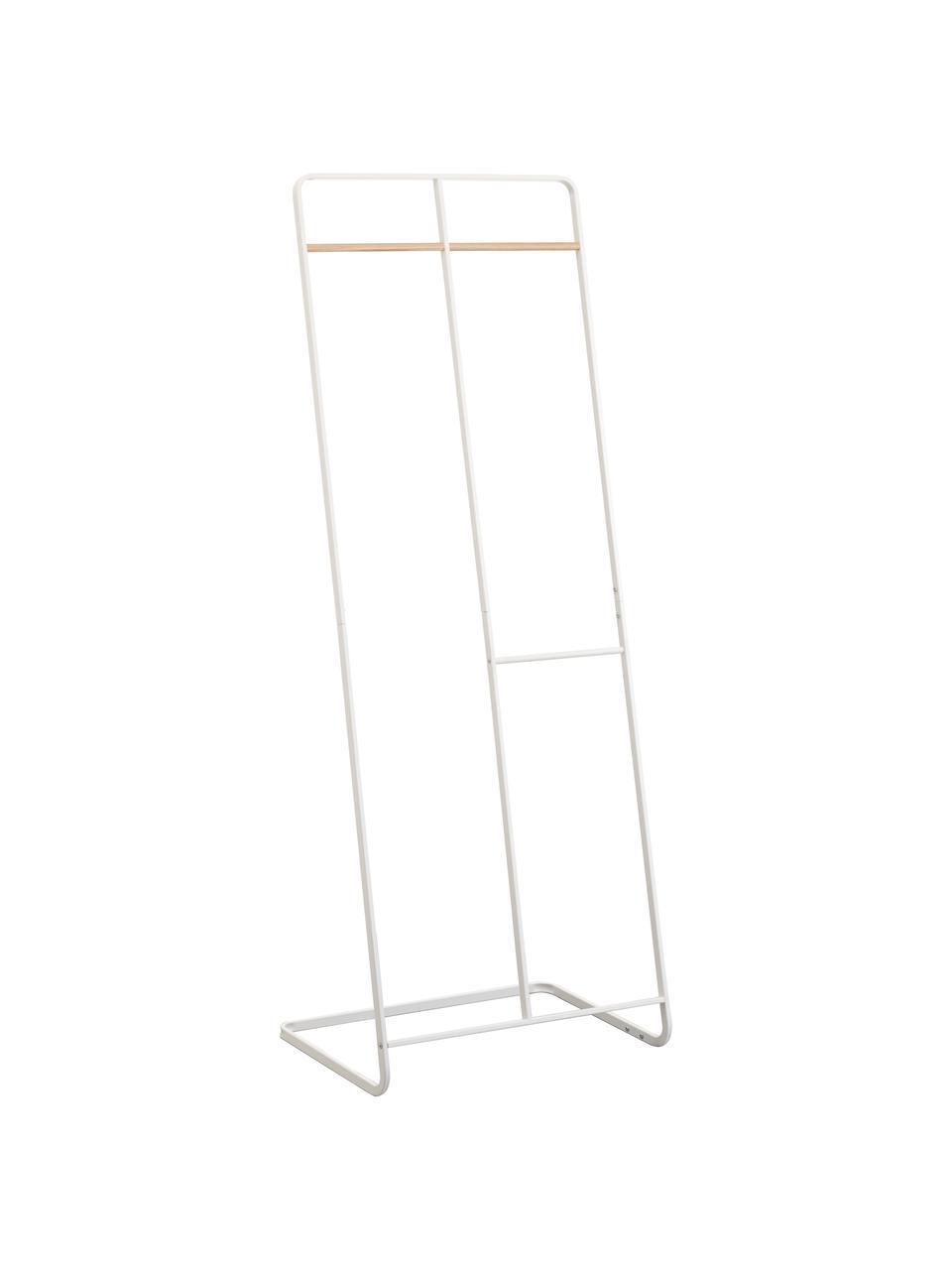 Metall-Kleiderständer Towi in Weiß, Gestell: Metall, pulverbeschichtet, Stange: Holz, Weiß, 61 x 163 cm