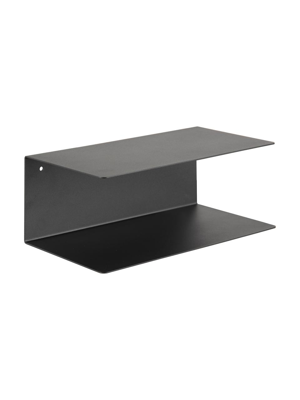 Schwarze Metall-Wandregale Newton, 2 Stück, Metall, pulverbeschichtet, Schwarz, 35 x 14 cm