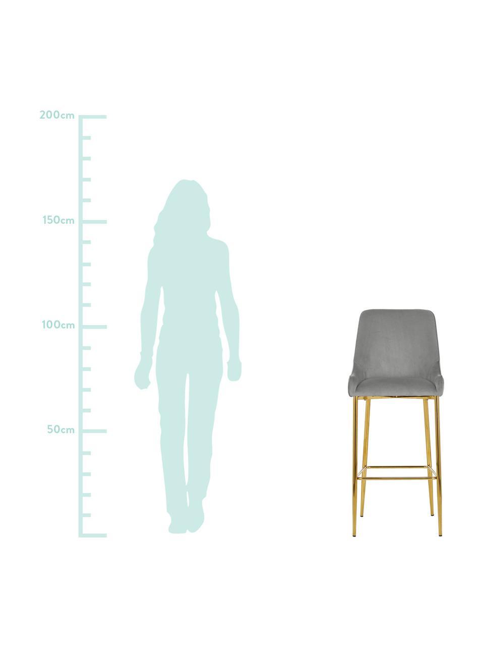 Samt-Barstuhl Ava, Bezug: Samt (100% Polyester) Der, Samt Grau, 48 x 107 cm