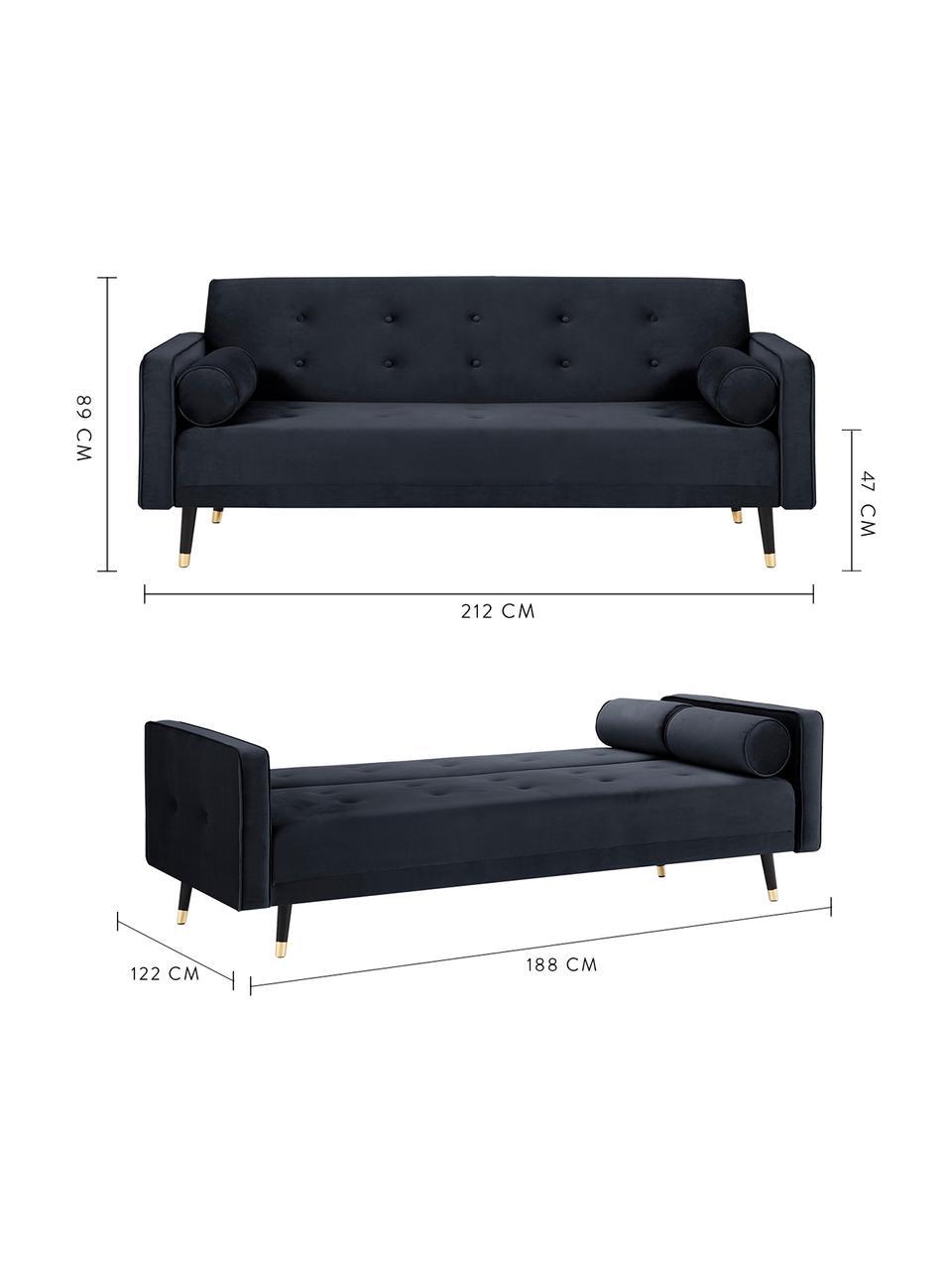 Sofa z funkcją spania z aksamitu Gia (3-osobowa), Tapicerka: aksamit poliestrowy Dzięk, Nogi: drewno bukowe, lakierowan, Aksamitny niebieski, S 212 x G 93 cm