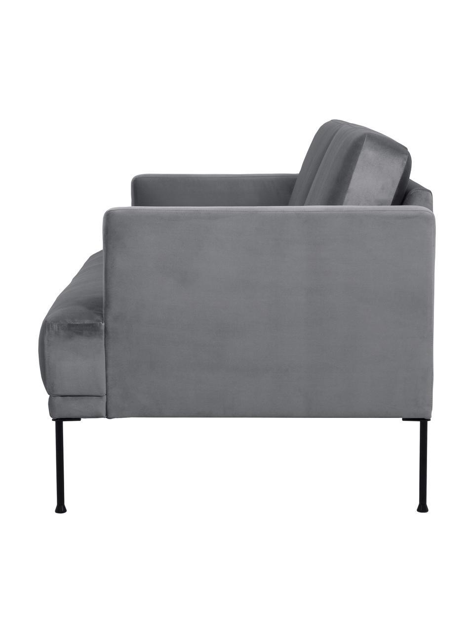 Samt-Sofa Fluente (3-Sitzer) in Dunkelgrau mit Metall-Füßen, Bezug: Samt (Hochwertiger Polyes, Gestell: Massives Kiefernholz, Füße: Metall, pulverbeschichtet, Samt Braungrau, B 196 x T 85 cm