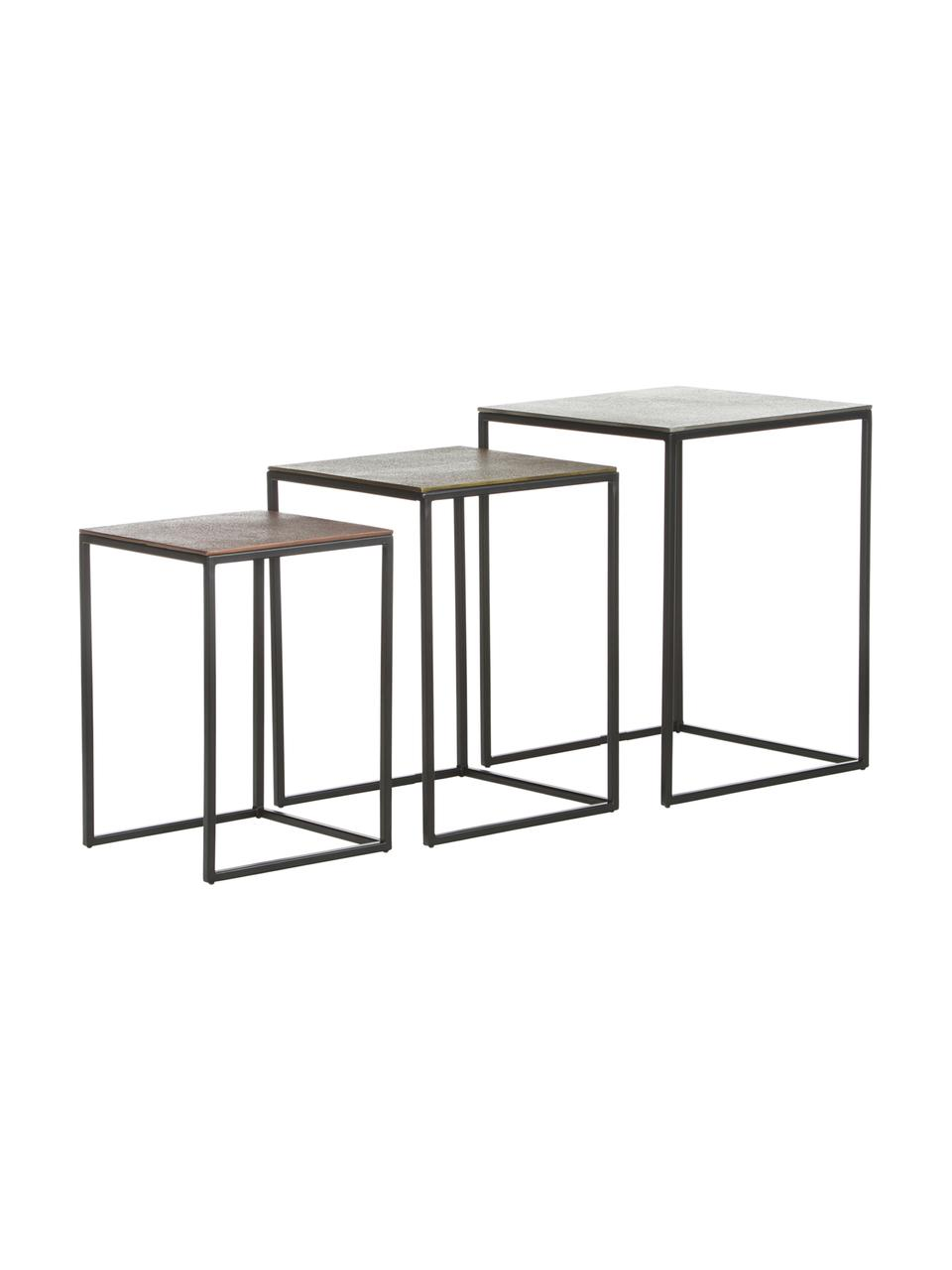 Set 3 tavolini in metallo Dwayne, Ripiani: alluminio rivestito, Struttura: metallo verniciato, Alluminio, ottone, Set in varie misure