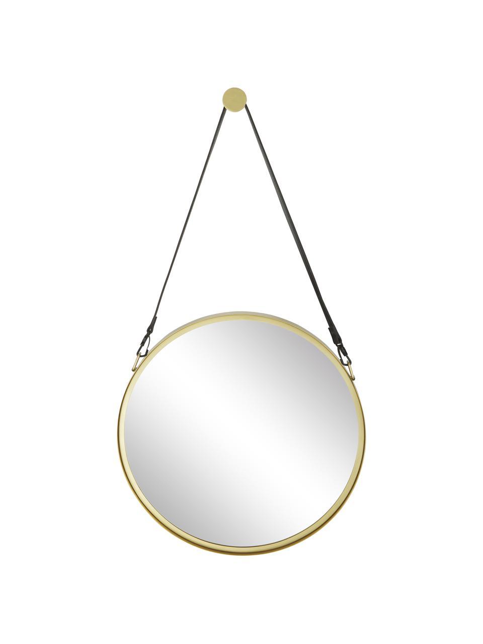 Specchio rotondo da parete con cinghia in pelle Liz, Superficie dello specchio: lastra di vetro, Retro: pannello di fibra a media, Oro, Ø 80 cm