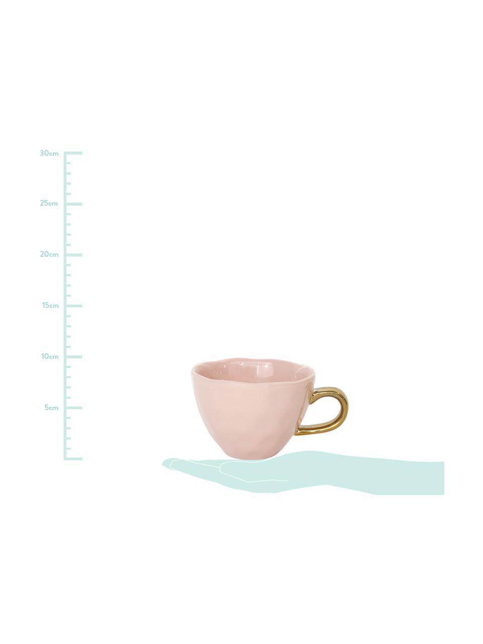 Tazza rosa con manico dorato Good Morning, Terracotta, Rosa, dorato, Ø 11 x Alt. 8 cm