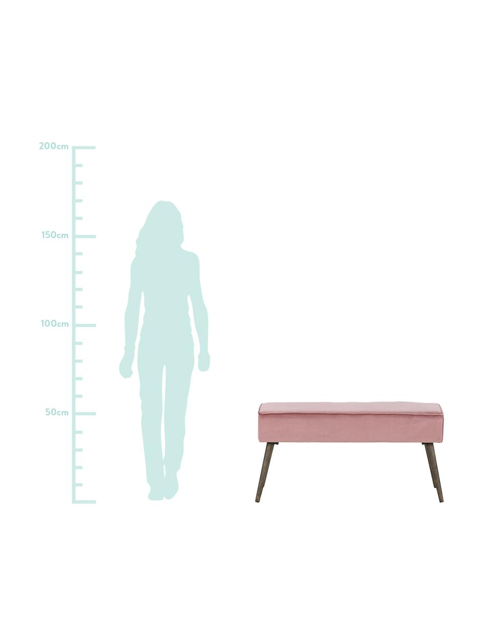 Samt-Polsterbank Popy, Bezug: Polyestersamt 50.000 Sche, Beine: Gummibaumholz, klar lacki, Pink, 100 x 50 cm