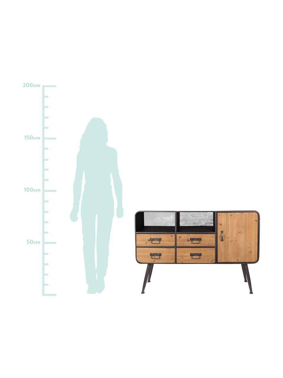 Kommode Gin mit Schubladen im Industrial Design, Türen: Tannenholz Gestell, Griffe und Füße: Grau, 120 x 80 cm