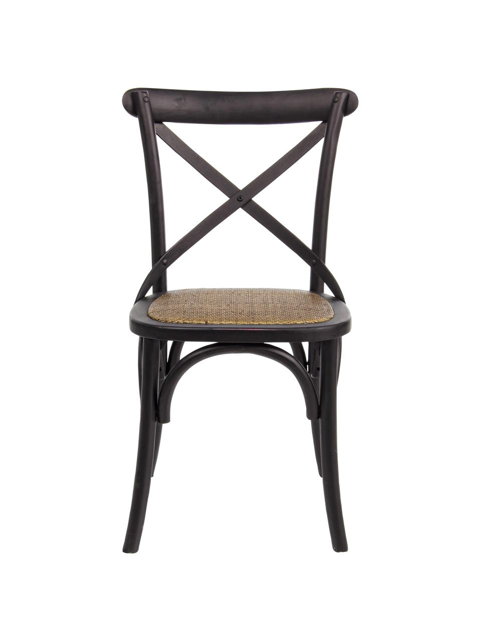 Chaise Cross, Structure: noir Assise: rotin