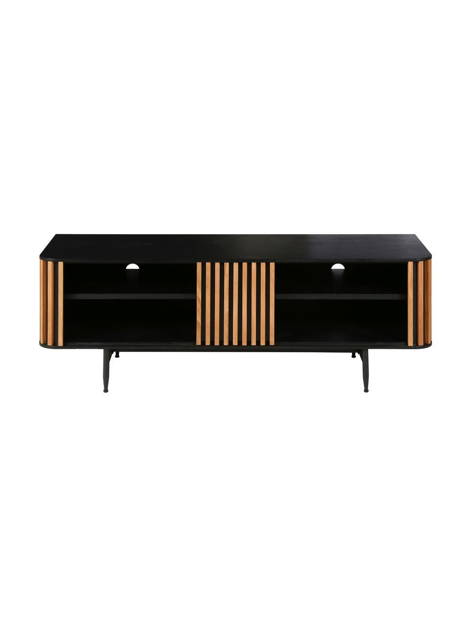 Design-TV-Konsole Linea mit Eichenholzfurnier, Korpus: Mitteldichte Holzfaserpla, Füße: Metall, lackiert, Schwarz, Eichenholz, 130 x 43 cm
