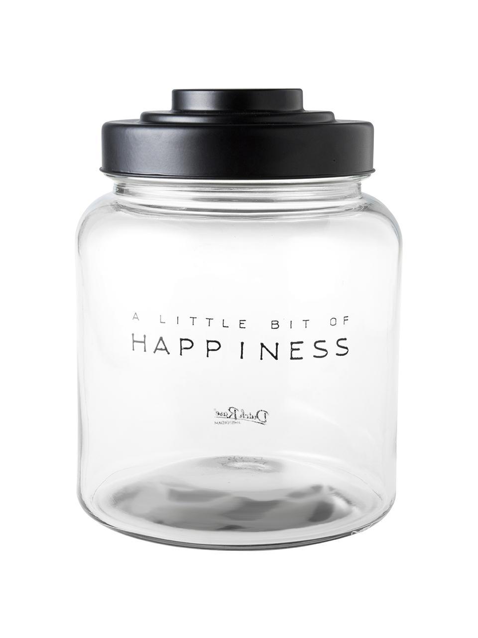 Barattolo con coperchio Happiness, Coperchio: porcellana laccata, Trasparente, Ø 16 x Alt. 21 cm