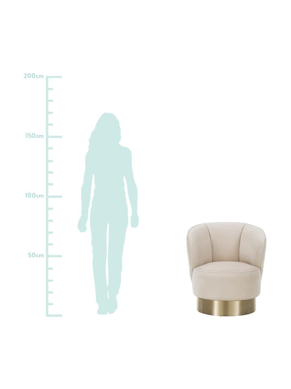 Samt-Cocktailsessel Olivia in Beige, Bezug: Samt (Polyester) Der hoch, Fuß: Metall, beschichtet, Samt Beige, 70 x 70 cm