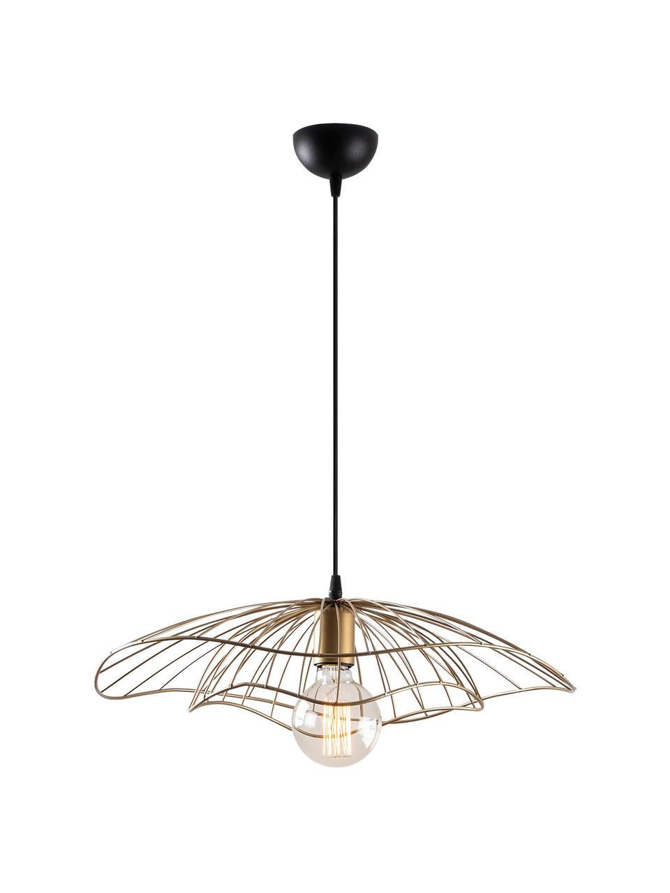 Lampa wisząca z metalu Tel, Odcienie mosiądzu, czarny, Ø 50 cm x W 14 cm