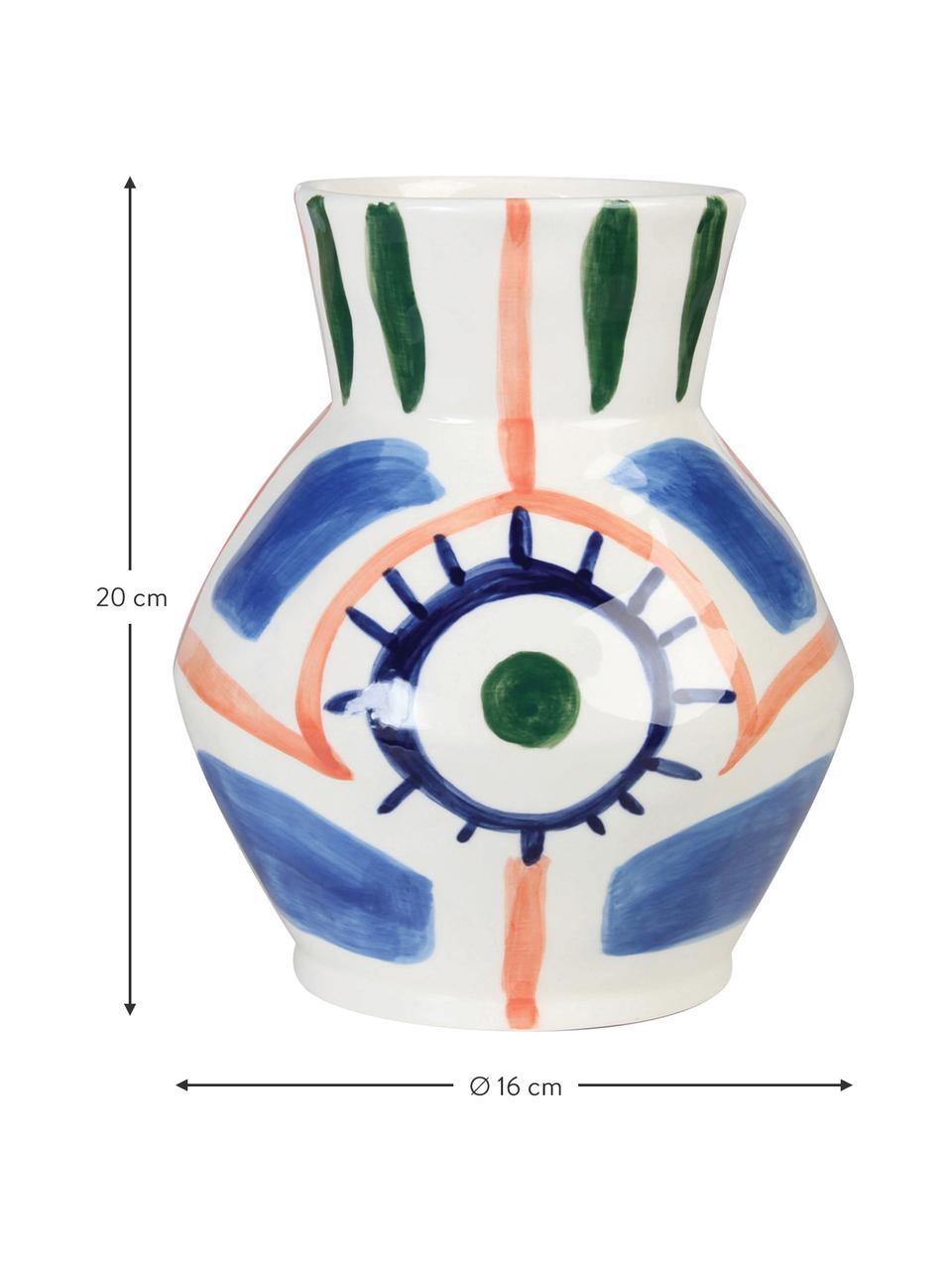 Vaso fatto a mano in ceramica Baariq, Ceramica, Bianco, blu, arancione, verde, Ø 16 x Alt. 20 cm