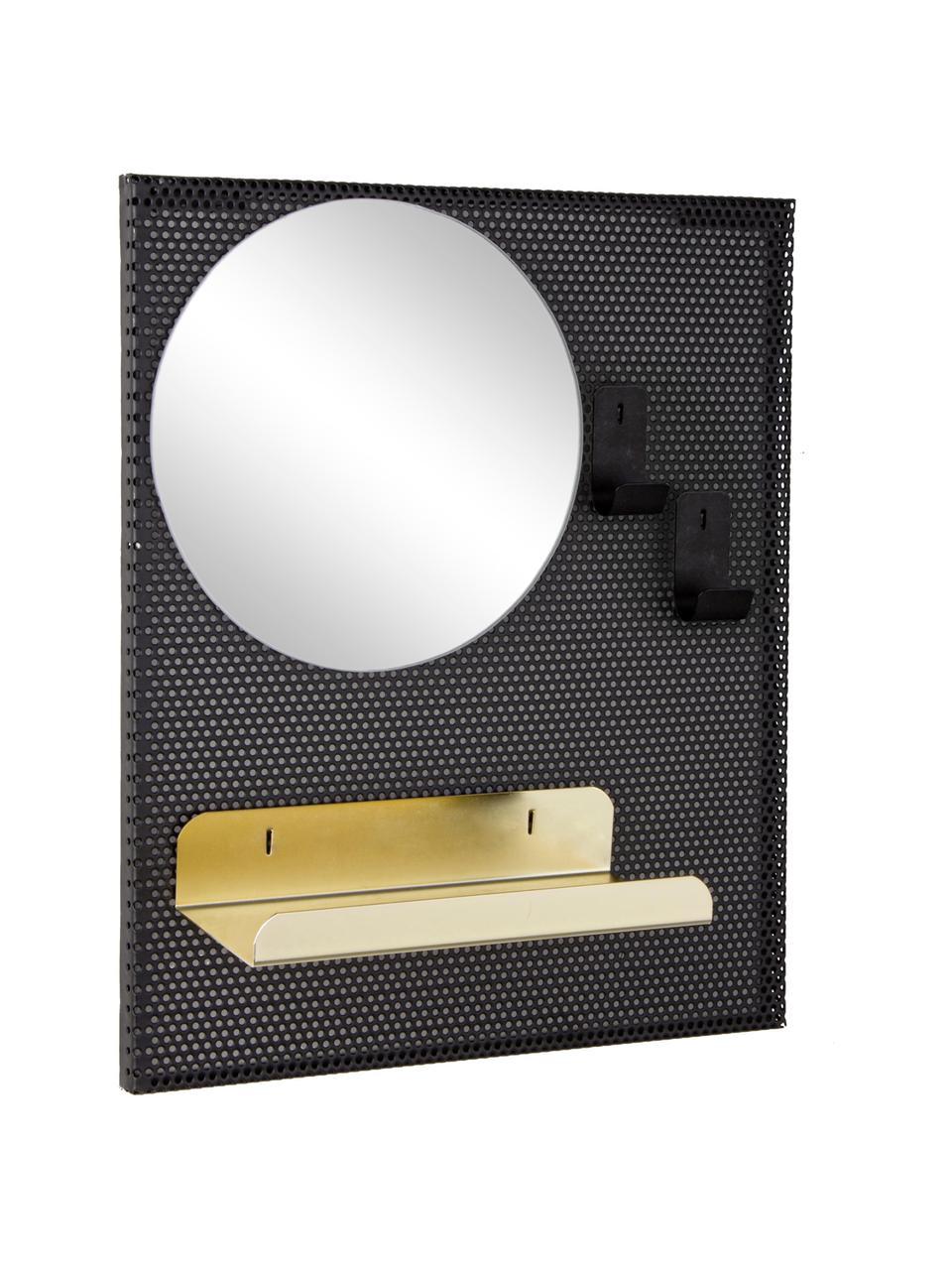 Wandspiegel Metric met metalen frame en plank, Zwart, goudkleurig, 31 x 37 cm