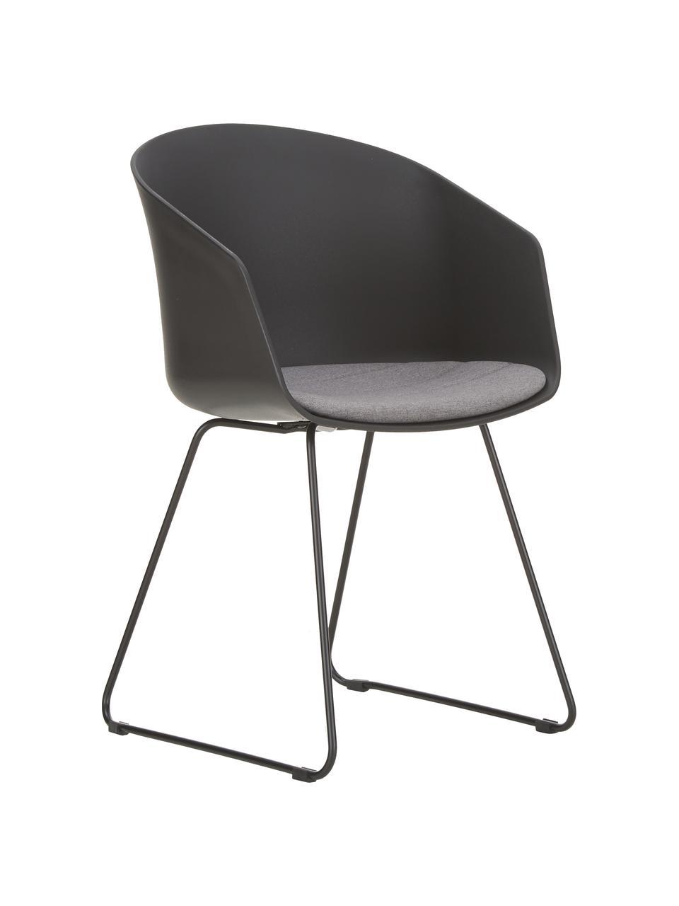 Chaises à accoudoirs Bogart, 2pièces, Chaise: noir Galette de chaise: gris foncé Pieds: noir