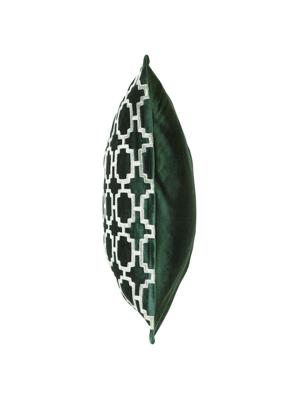 Federa arredo in velluto ricamata Simone, 100% velluto di poliestere, Verde scuro, bianco spezzato, Larg. 45 x Lung. 45 cm