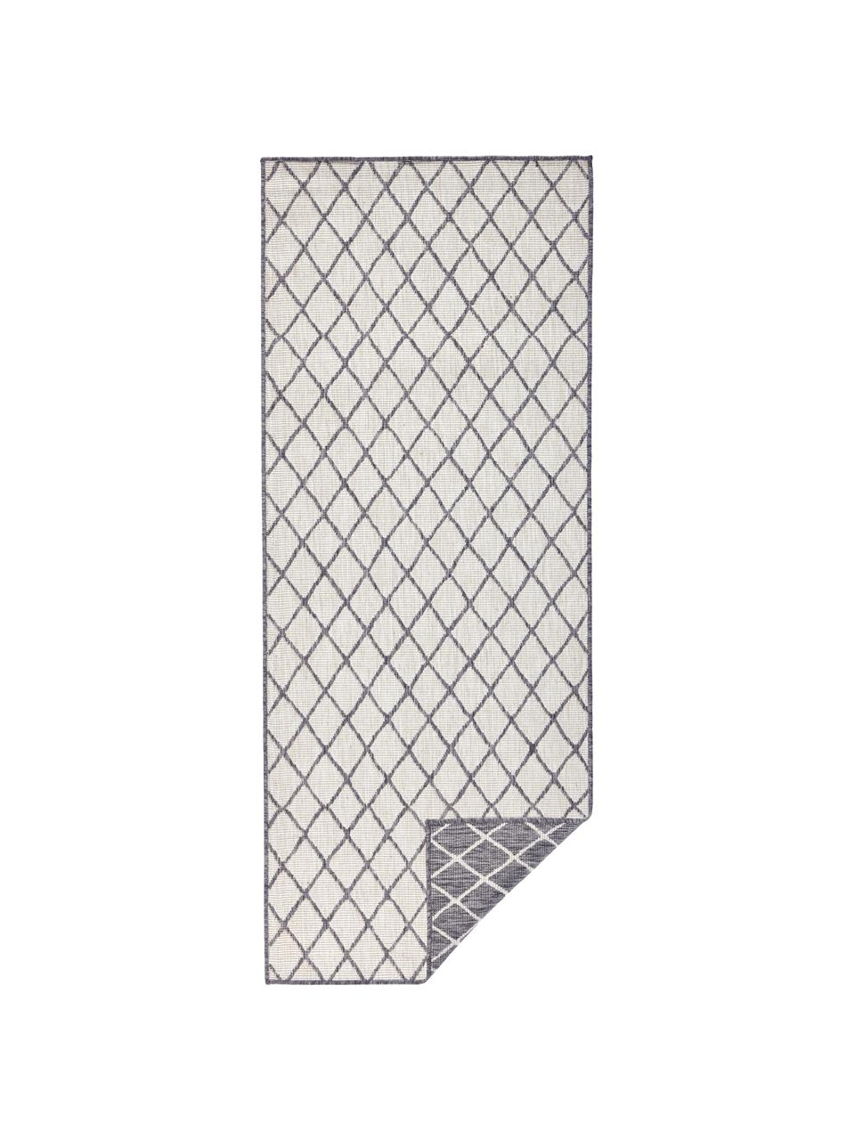 Passatoia reversibile da interno-esterno Malaga, Grigio, crema, Larg. 80 x Lung. 250 cm
