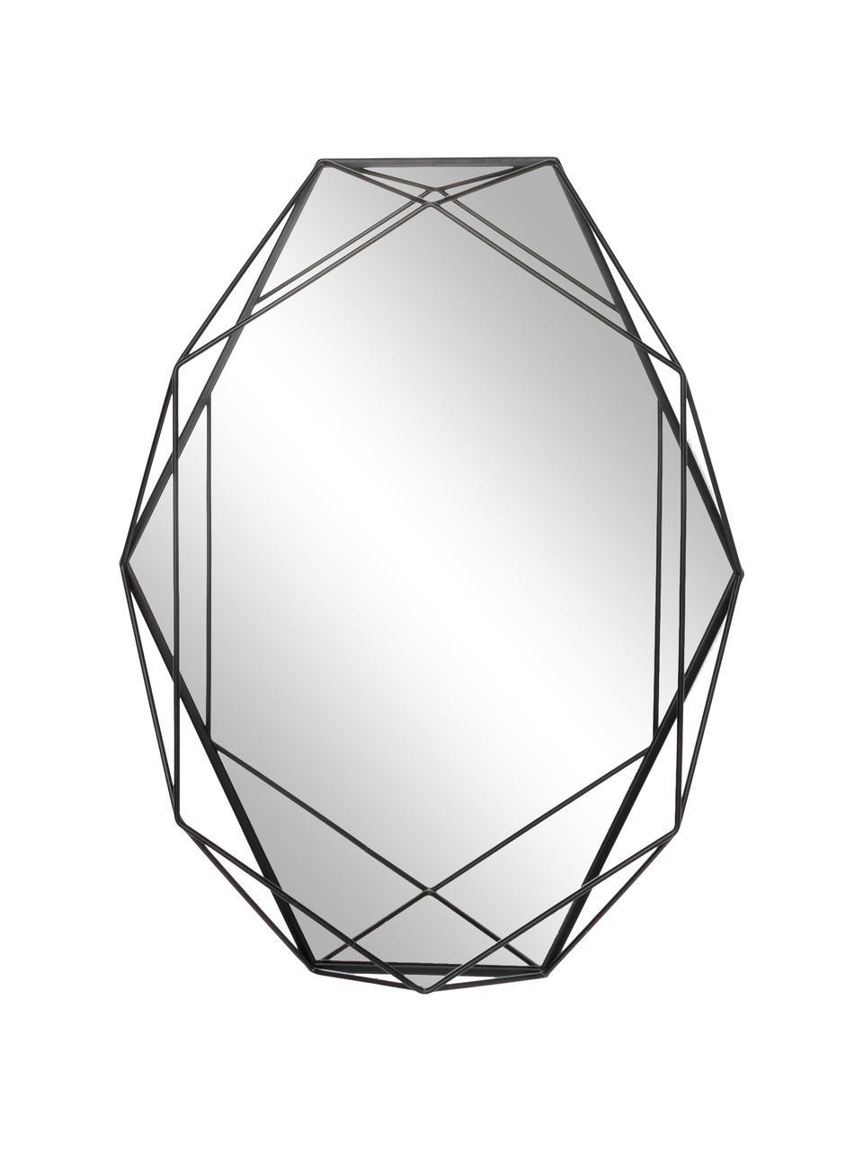 Specchio da parete con cornice in metallo Prisma, Cornice: acciaio verniciato, Superficie dello specchio: lastra di vetro, Nero, Larg. 43 x Alt. 57 cm