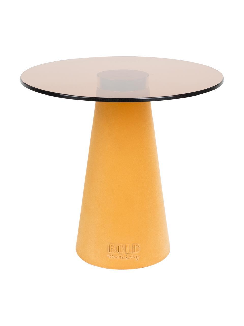 Beistelltisch Leader Of The Fanclub mit Glasplatte, Tischplatte: Hartglas, Gelb, Ø 40 x H 39 cm
