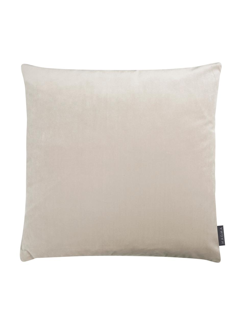 Kissenhülle Tilas mit Hoch-Tief-Muster & Samt-Rückseite, Vorderseite: 87%Polyester, 13%Baumwo, Rückseite: Polyestersamt, Beige, Creme, 40 x 40 cm