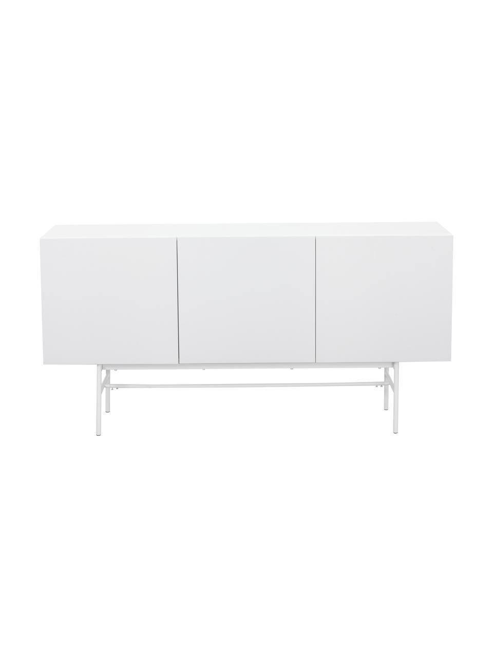 Credenza moderna Anders, Piedini: metallo, verniciato a pol, Corpo: bianco piedini: bianco opaco, Larg. 200 x Alt. 80 cm