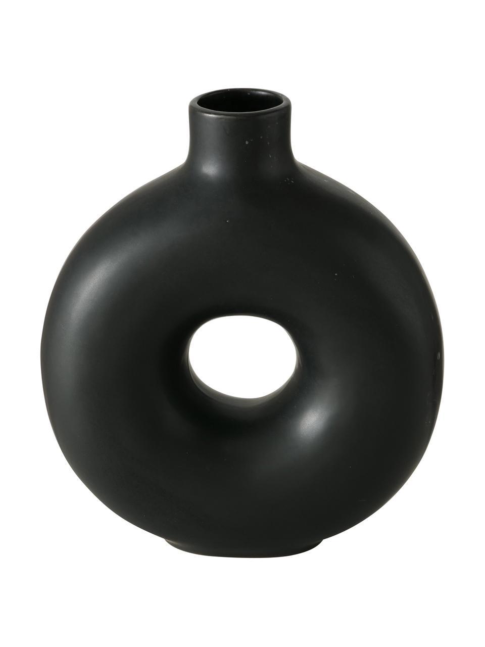 Vaso in gres fatto a mano Lanyo, Terracotta, Nero, Larg. 17 x Alt. 20 cm
