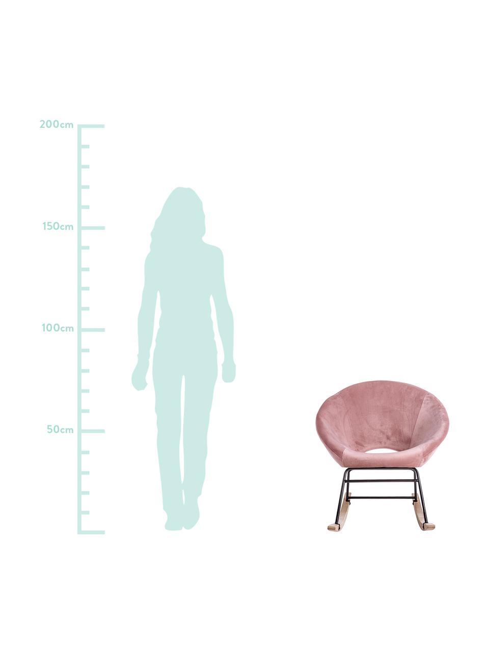 Sedia a dondolo in velluto Annika, Rivestimento: velluto di poliestere, Struttura: metallo verniciato a polv, Velluto rosa, Larg. 74 x Prof. 77 cm