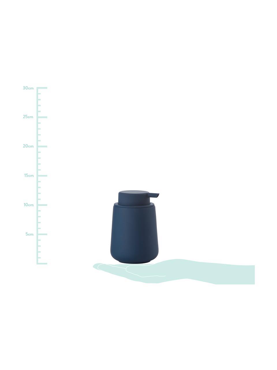 Dispenser sapone in porcellana Nova One, Contenitore: porcellana, Blu, Ø 8 x Alt. 12 cm