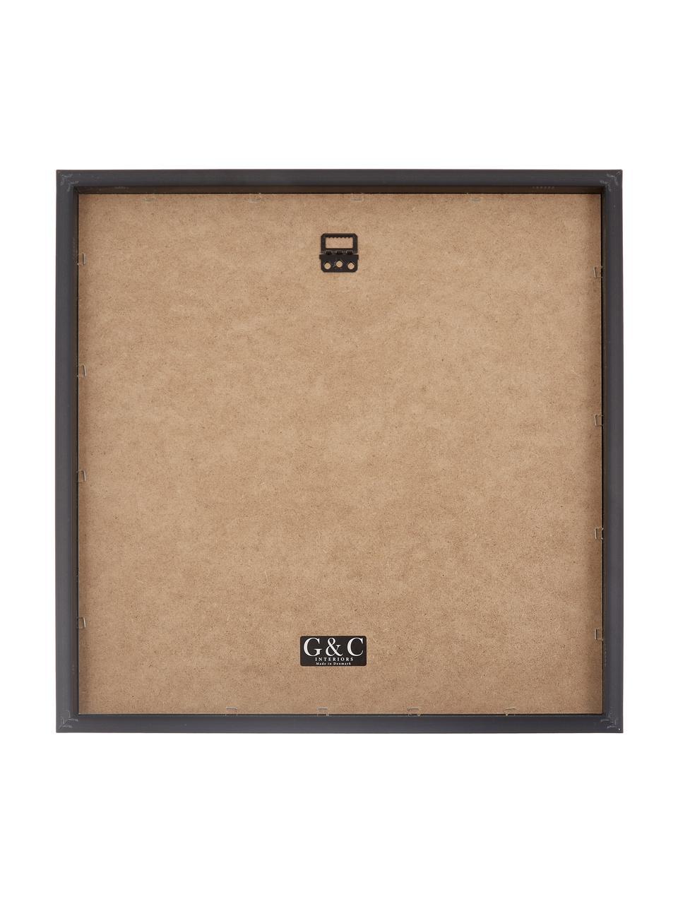 Ingelijste digitale print Senses I, MDF, gietijzer, glas, Print: zwart, beige. Lijst: zwart, 40 x 40 cm