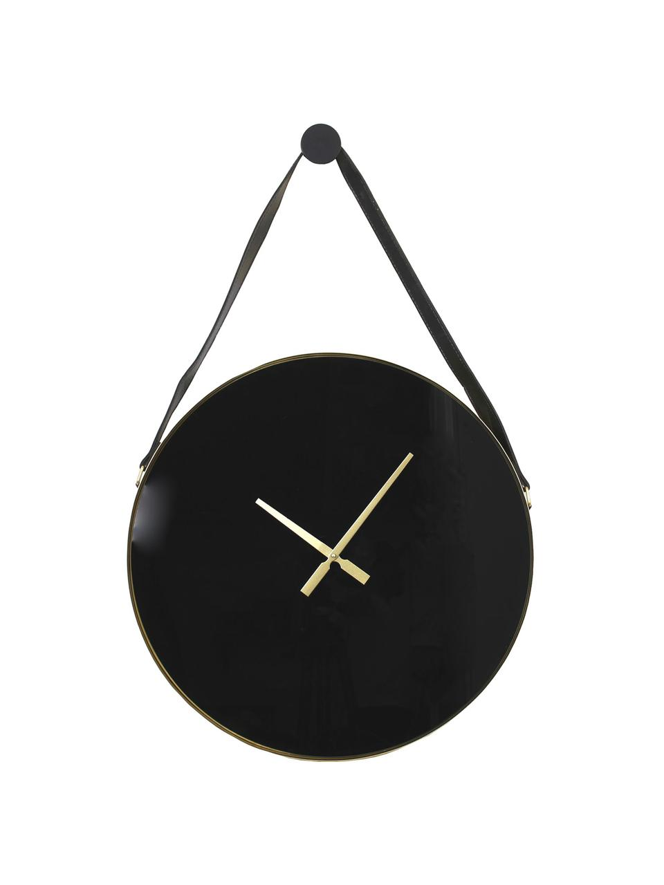 Grande horloge murale ronde Liva, Noir, couleur dorée