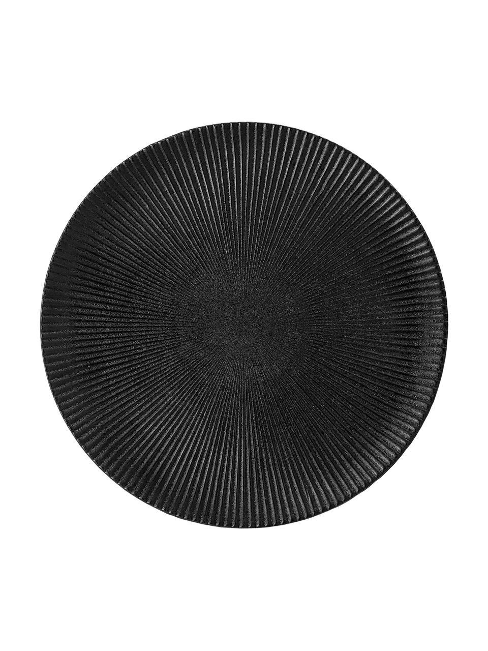 Piatto piano nero opaco con struttura rigata Neri, Terracotta Con una struttura scanalata e una superficie leggermente ruvida, Nero, Ø 29 cm