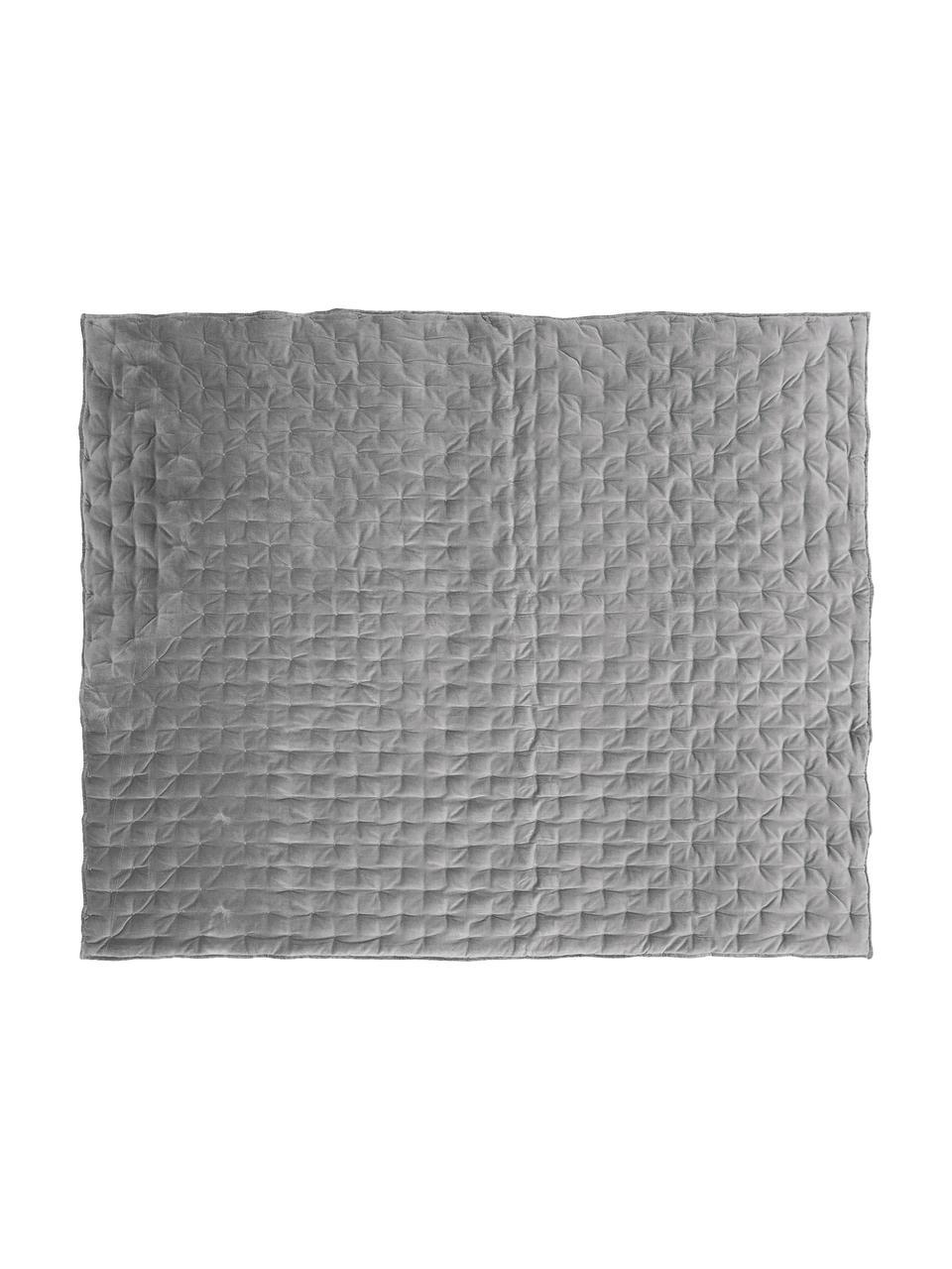 Wattierte Samt-Tagesdecke Cheryl mit dekorativer Steppung, Vorderseite: Baumwollsamt, Rückseite: Baumwolle, Grau, B 160 x L 220 cm (für Betten bis 140 x 200)