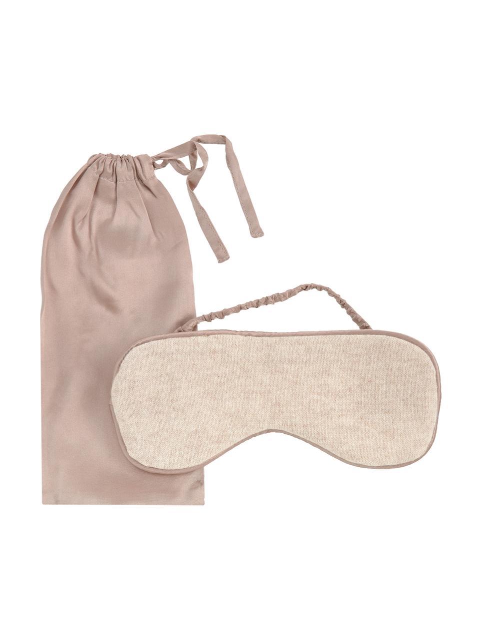 Seiden-Schlafmaske Silke, Vorderseite: 70% Kaschmir, 30% Merinow, Riemen: 100% Seide, Beige, Taupe, 21 x 9 cm