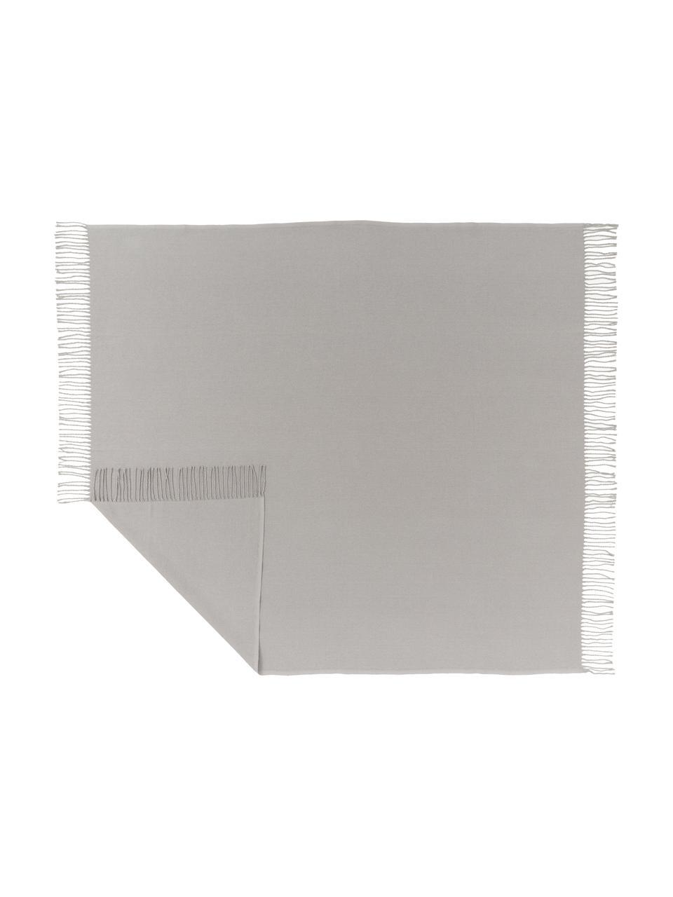 Pled z frędzlami Madison, 100% bawełna, Jasny szary, S 130 x D 170 cm